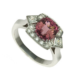 Pink Sapphire and Halo Diamond Ring