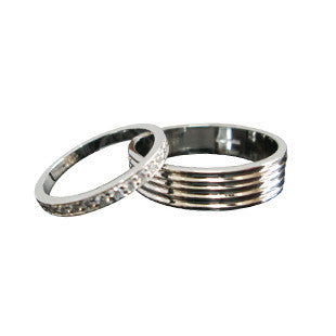 gents grooved wedding ring and ladies platinum ring