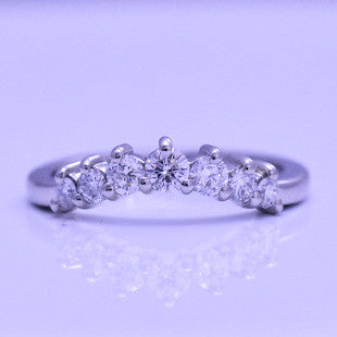 Diamond claw set platinum fitted ring