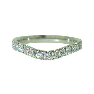 Fitted Wedding Band with Diamonds set into Platinum