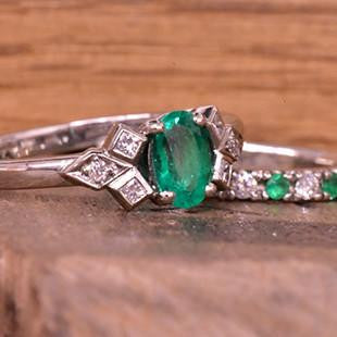 emerald green engagement ring