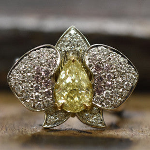 yellow diamond orchid ring