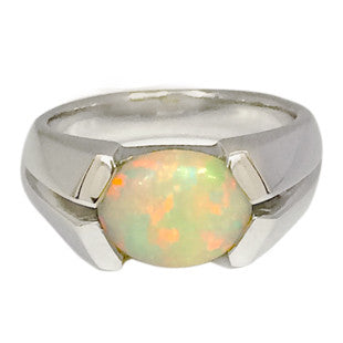 Opal gemstone on silver chunky band