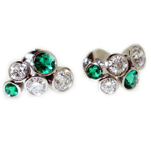green and diamond earrings