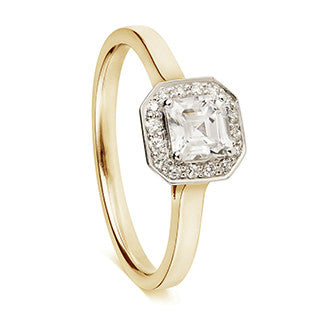 yellow gold asher diamond with halo
