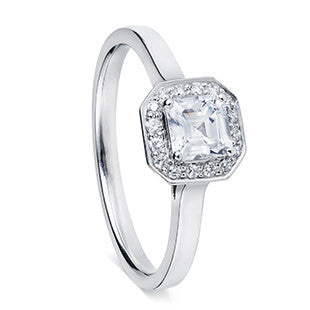 silver asher diamond with halo