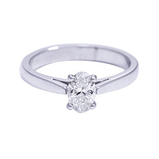 Oval cut diamond single stone ring