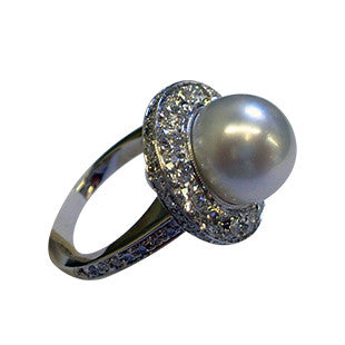 Pearl and Diamond Halo Engagement Ring