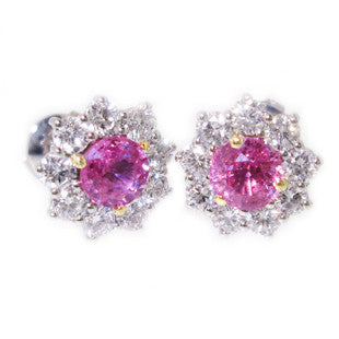 pink and diamon silver earrings