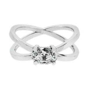 Horizontal Oval Diamond with Cross Band Engagement Ring
