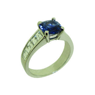 sapphire and baguette diamond engagement ring