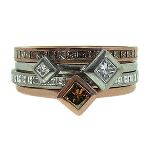 Stackable Diamond Rings with Cognac and White Diamonds