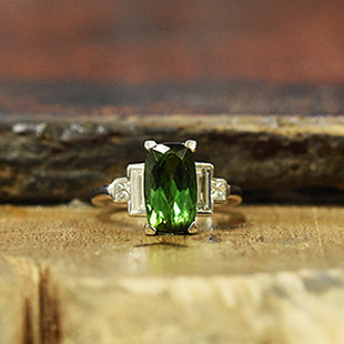 green tourmaline gemstone and diamond ring art deco style handmade hatton garden workshop