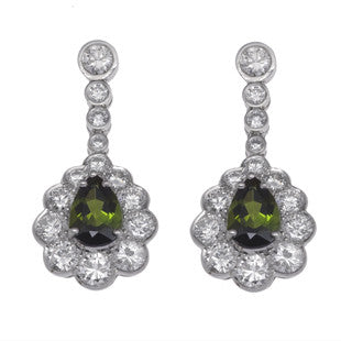 green and diamonds earrings