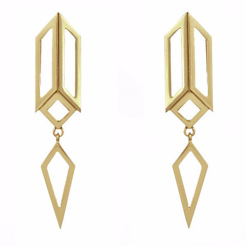 Gold Deco Drop Earrings-Earrings-London Rocks Jewellery