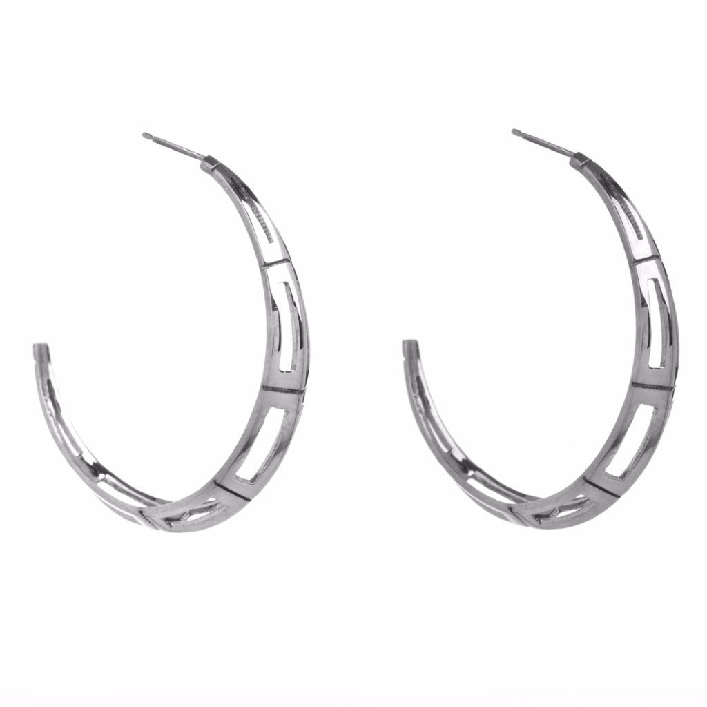 Silver Deco Hoops-Earrings-London Rocks Jewellery