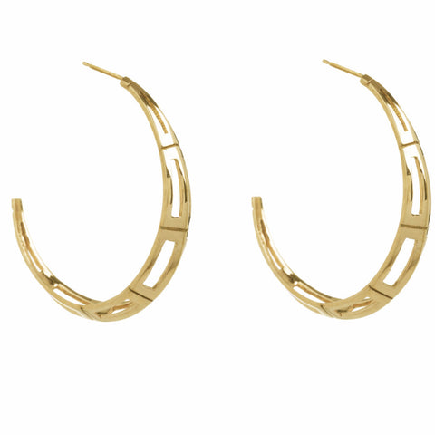 Gold Deco Hoops-Earrings-London Rocks Jewellery