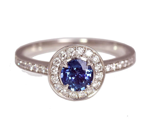 Blue Sapphire Round Halo with Diamond Band