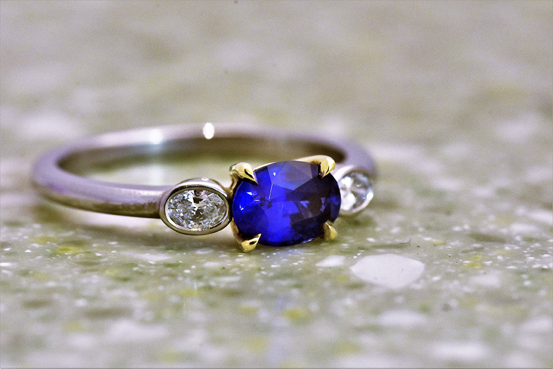Oval Blue Sapphire and Diamond Three Stone