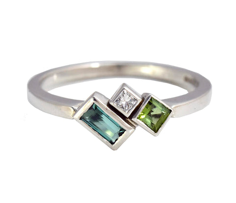 Crystalline Three Stone Asymmetric Ring