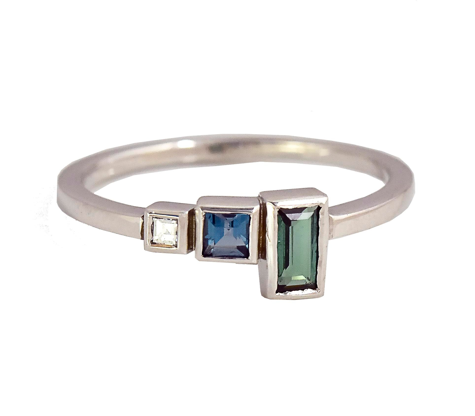 Crystalline Three Stone Linear Ring