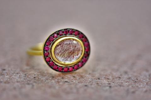 Hematite Rutile Quartz Ring with Ruby Halo