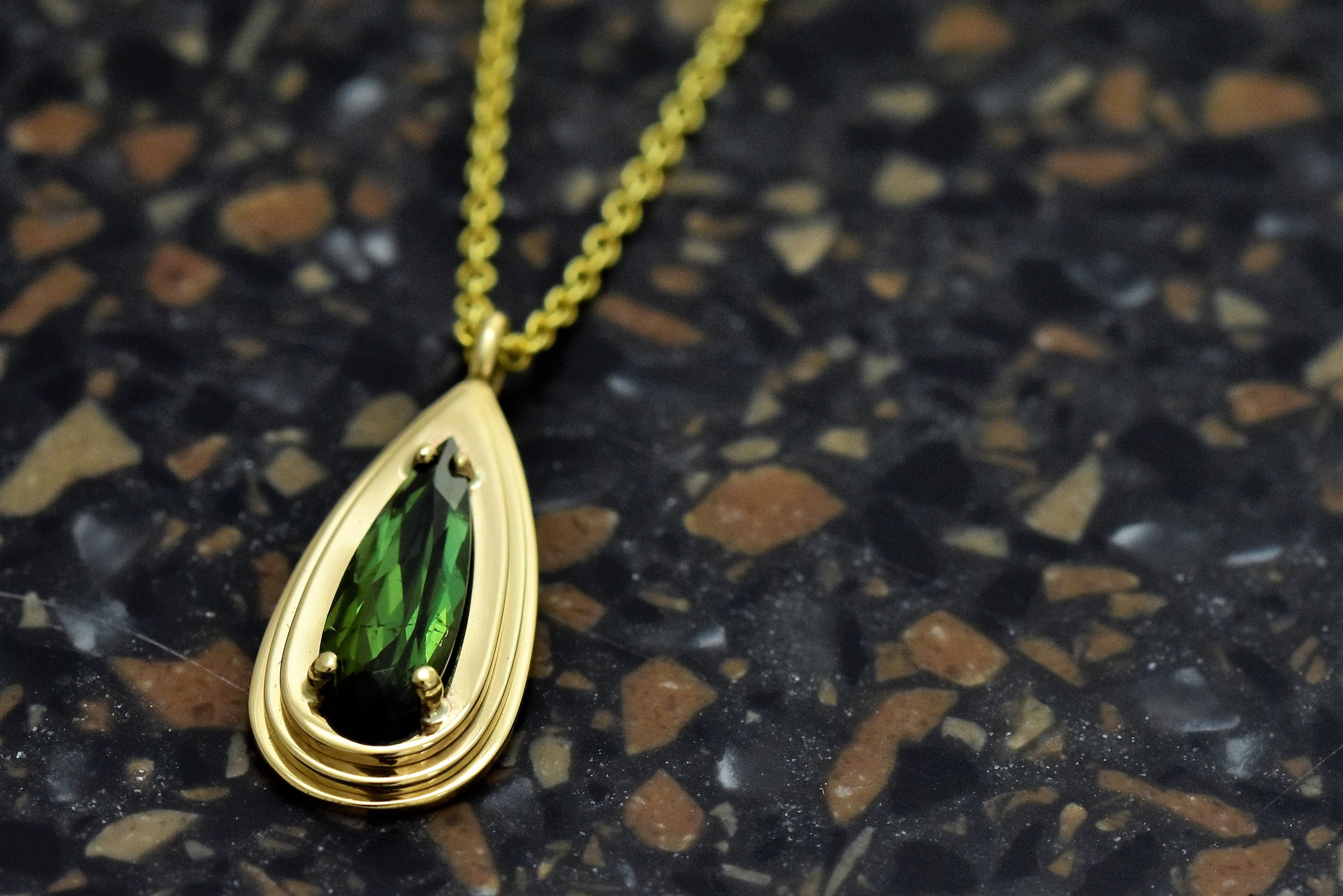 Pear Tourmaline Layered Pendant