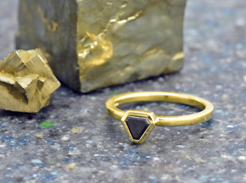 Black Shield Cut Diamond Ring in Yellow gold