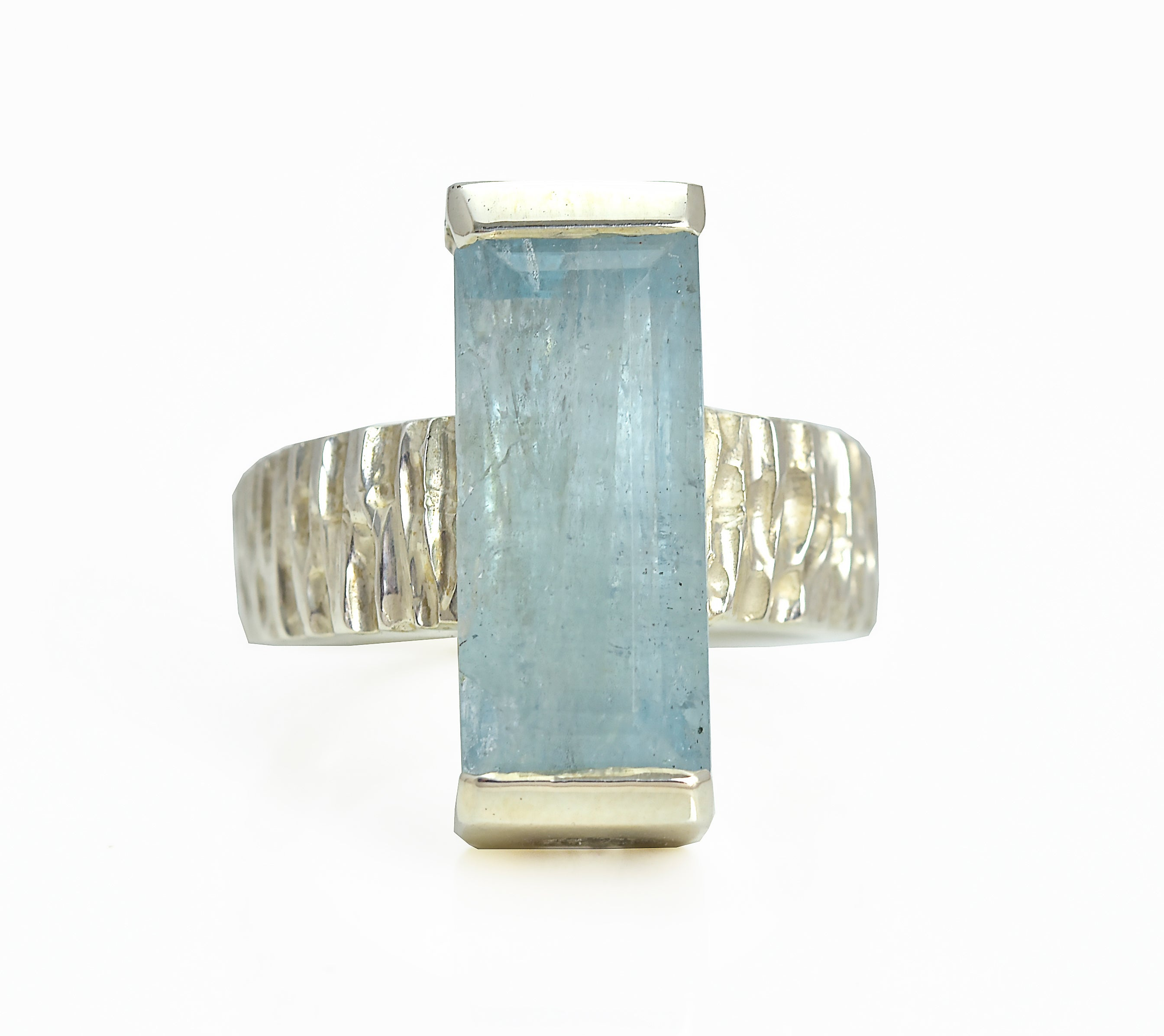 Aquamarine Baguette Statement Ring