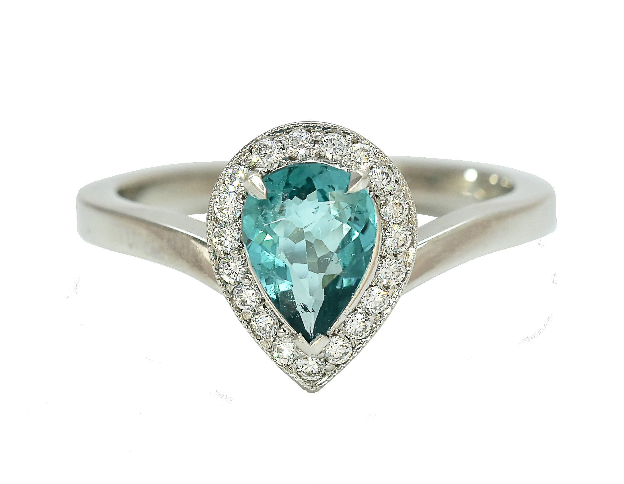 Blue Tourmaline Pear Shape Halo
