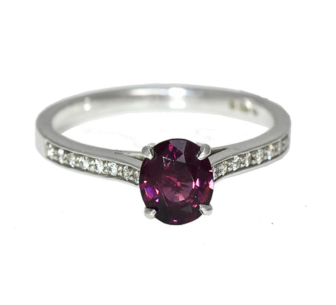 Dark Pink Spinel Ring with Diamond Shoulders
