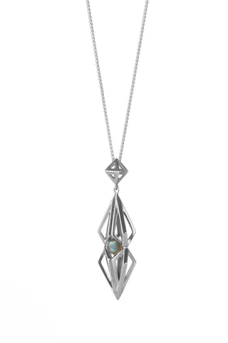 Silver Labradorite Nucleus Pendant-Necklaces-London Rocks Jewellery