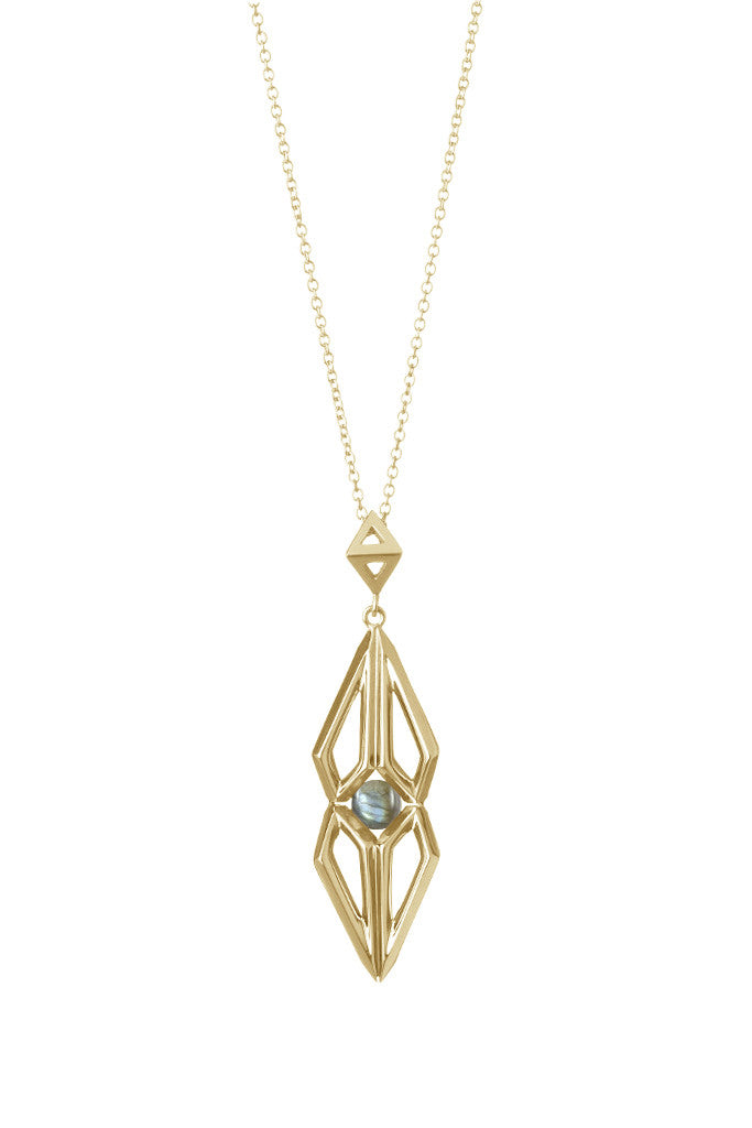 Gold Labradorite Nucleus Pendant-Necklaces-London Rocks Jewellery