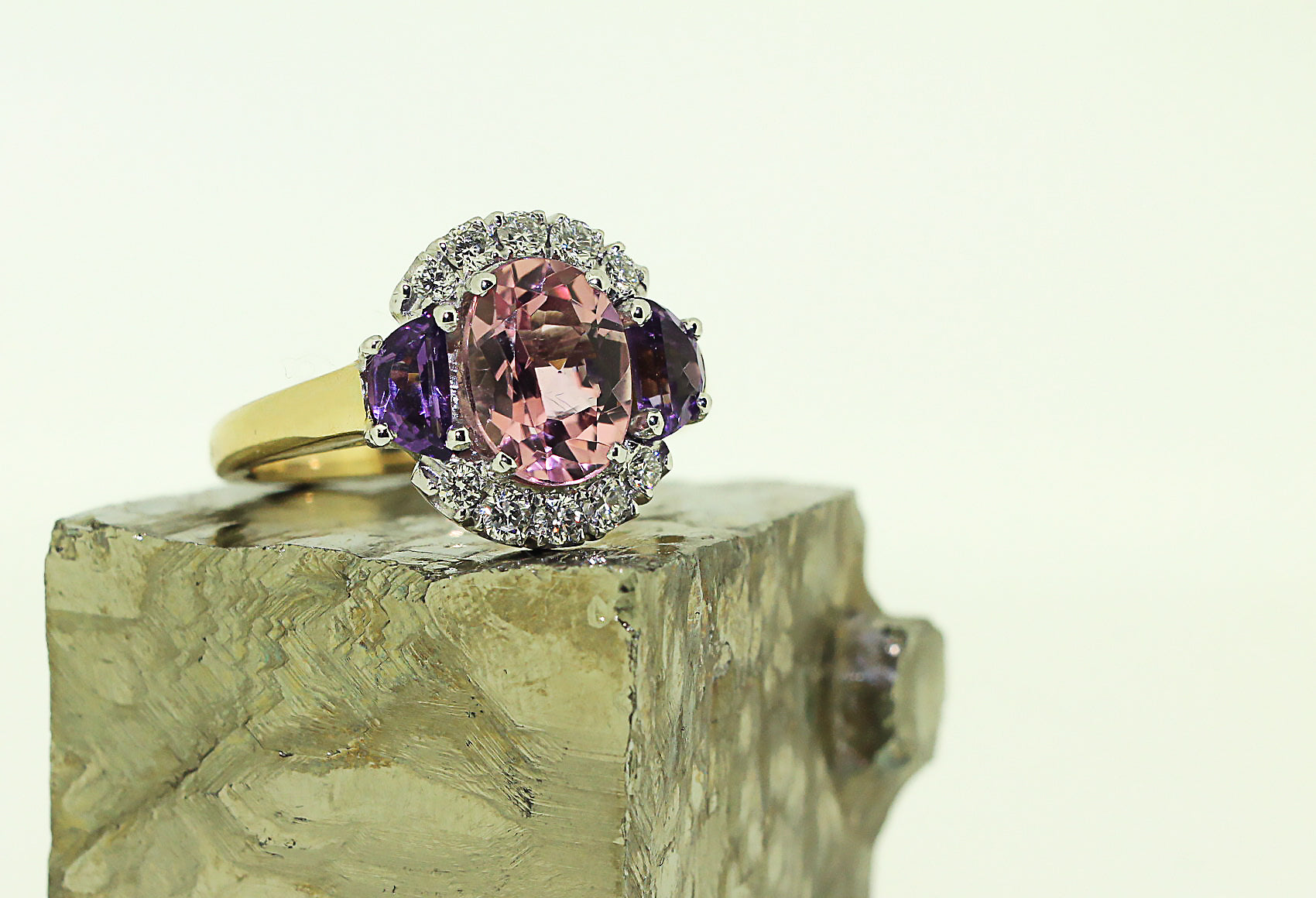 Pink Tourmaline & Amethyst Ring with Diamond Halo
