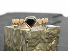 Black Diamond Shield Ring with Hexagon Band