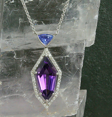 Amethyst & Tanzanite Necklace with White Diamond Halo