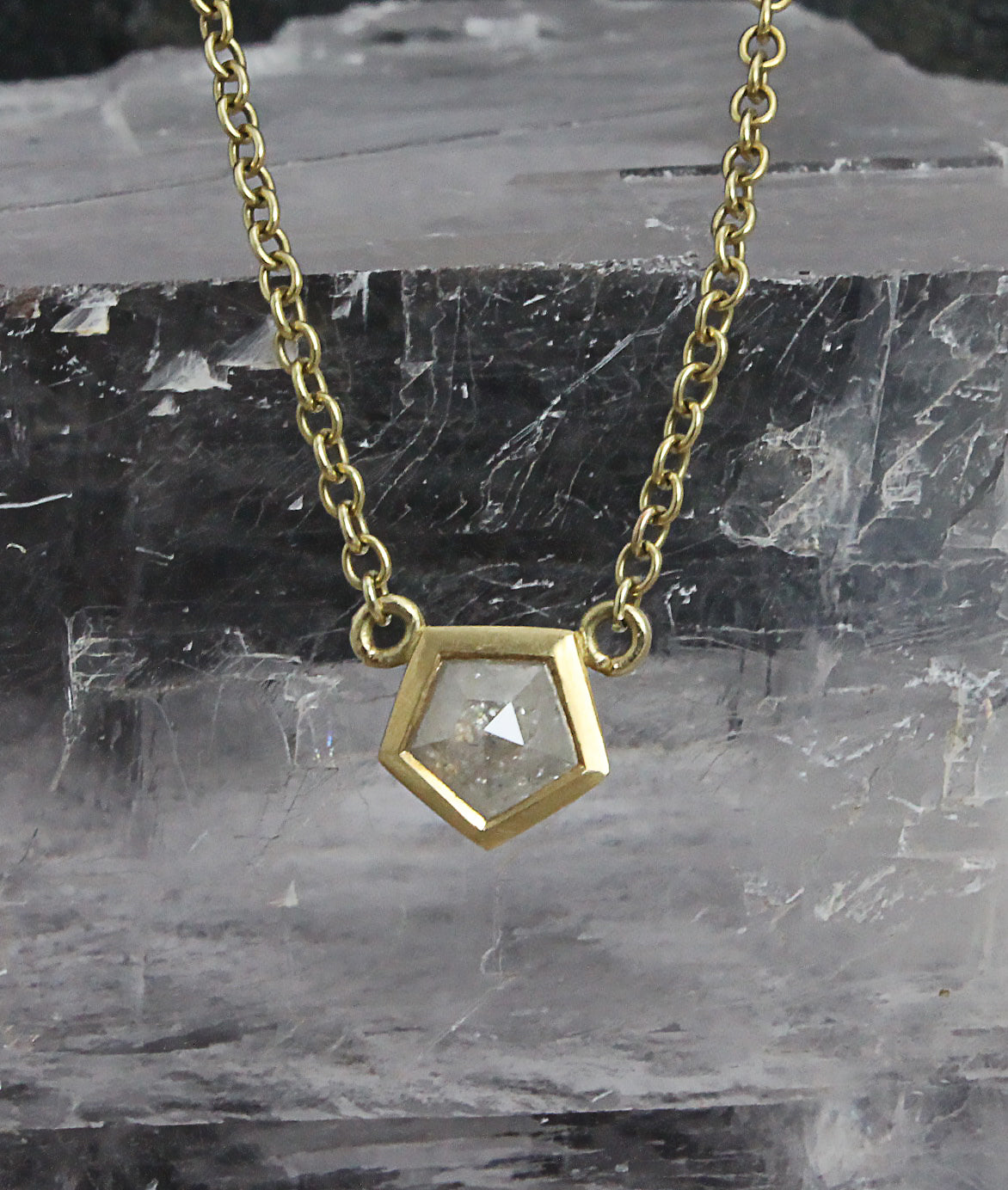 Grey hexagon cut diamond pendant
