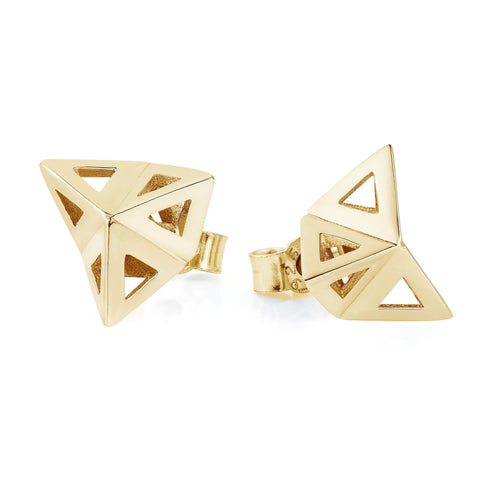 Gold Prism Studs-earrings-London Rocks Jewellery
