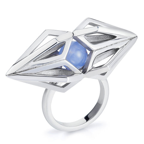 Silver Moonstone Nucleus Ring-Rings-London Rocks Jewellery