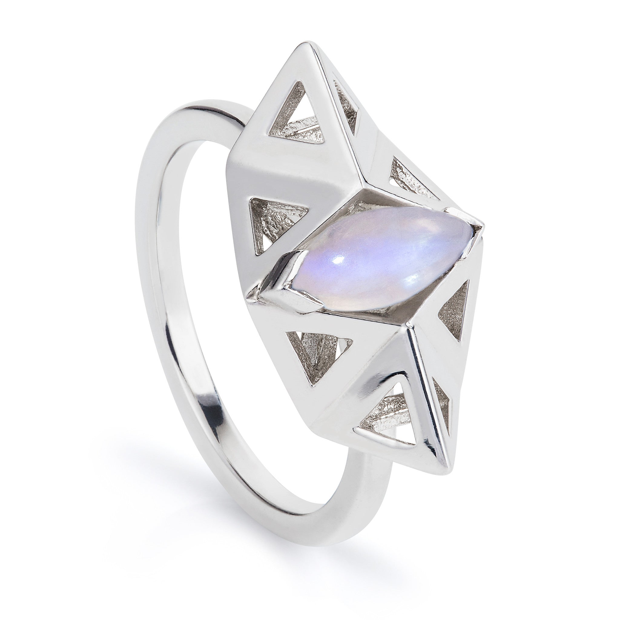 A geometric handmade ring design, made in the London Rocks workshop from sterling silver and a marquise cut moonstone to its centre