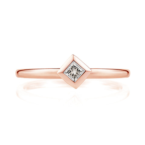 Diamond Pyramid Ring in 18ct Rose Gold
