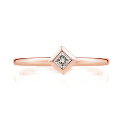 Diamond Pyramid Ring in 18ct Rose Gold-Earrings-London Rocks Jewellery