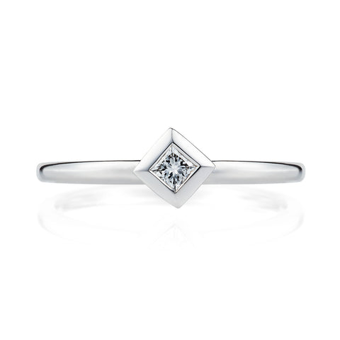 Diamond Pyramid Ring in 18ct White Gold-Rings-London Rocks Jewellery
