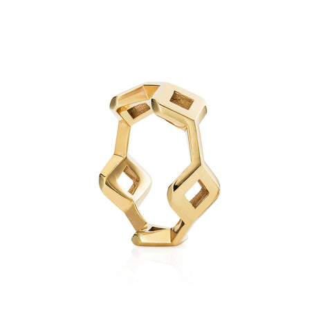Unique stacking rings, in yellow gold plated sterling silver. Geometric shapes stack into each other, handmade in our London Rocks Jewellery workshop