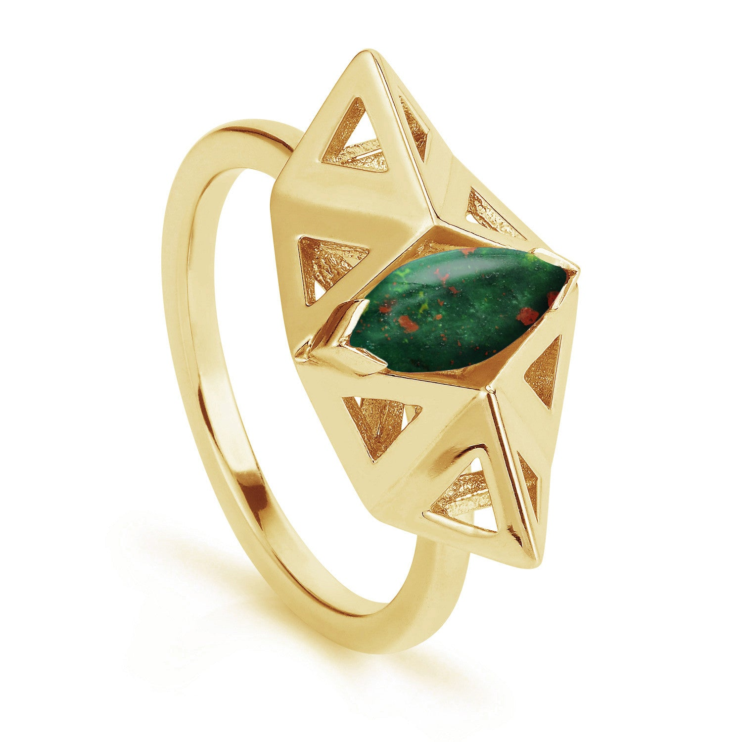 A geometric handmade ring design, made in the London Rocks workshop from yellow gold plated silver and a marquise cut bloodstone to its centre