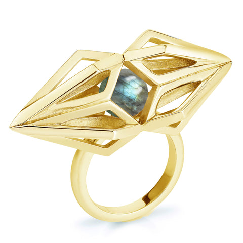 Gold Labradorite Nucleus Ring-Rings-London Rocks Jewellery