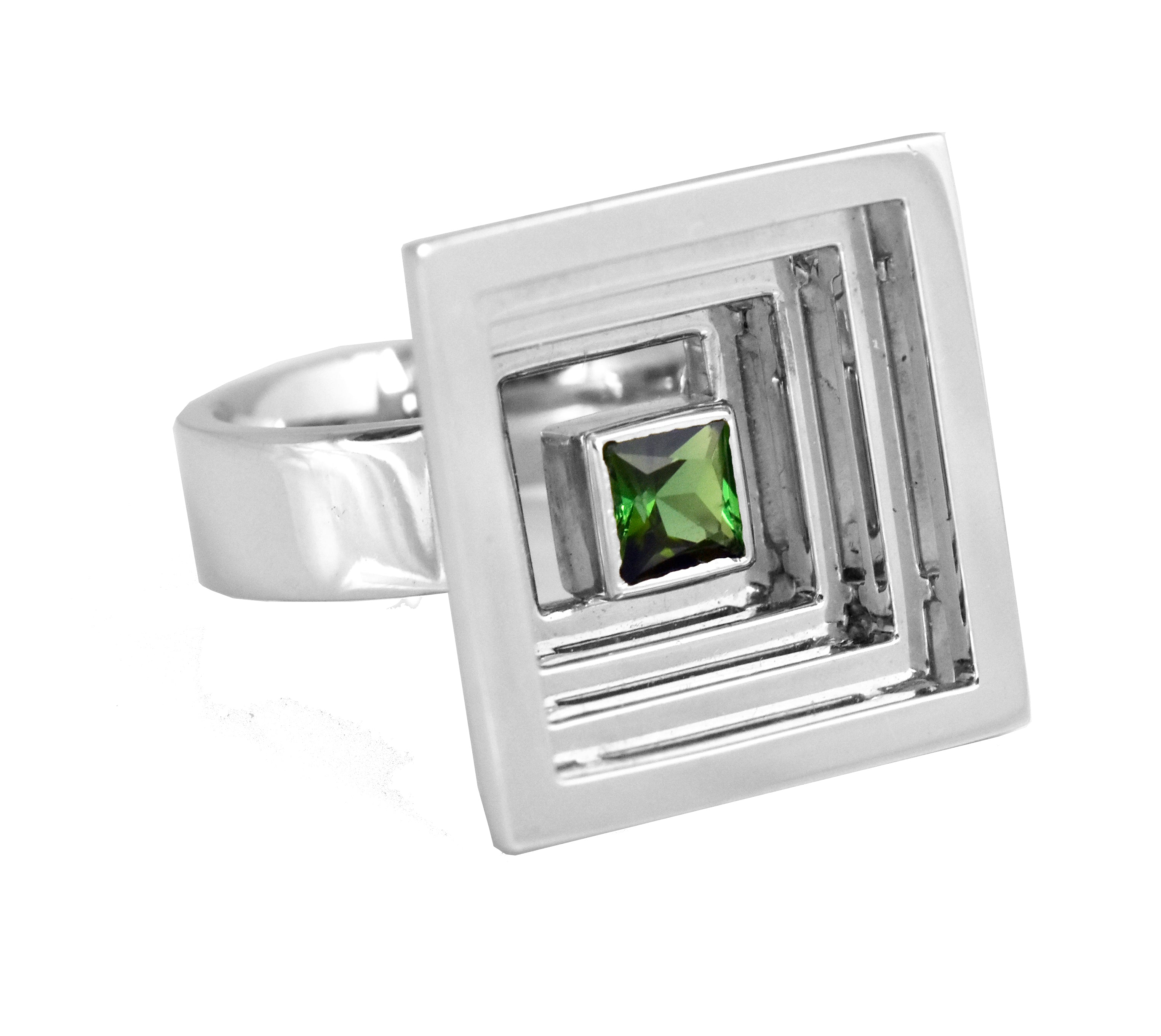 Large Vortex Silver Ring with Green Tourmaline