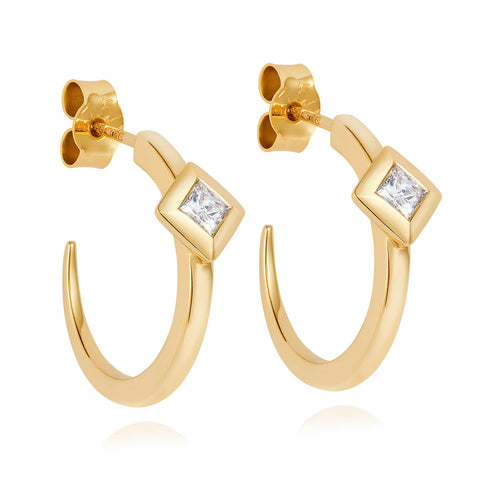 Diamond Pyramid Yellow Gold Hoops
