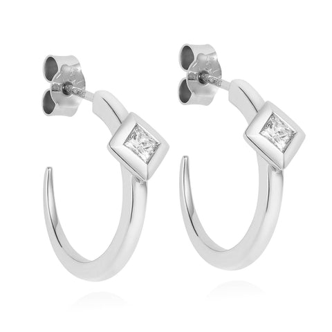 Diamond Pyramid White Gold Hoops-Earrings-London Rocks Jewellery