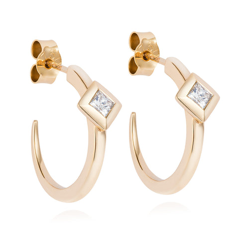 Diamond Pyramid Rose Gold Hoops-Earrings-London Rocks Jewellery